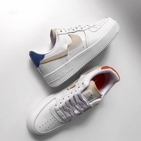 Giày thể thao AIR FORCE 1 trắng gót xanh cam