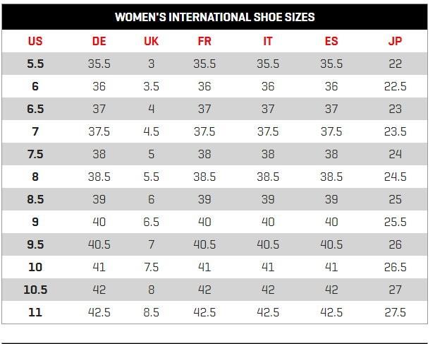 Bảng size giày nữ của Puma của nữ và nam